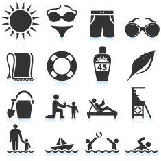 Summer Beach Vacation black & white vector icon set vector art illustration