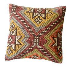 Pasargad Vintage Turkish Kilim Geometric Throw Pillow Multi, Size 18 x 18 Modern Throw Pillows, Decorative Throw Pillows, All Modern, Modern Contemporary, Color Quiz, Floor Pillows, Bohemian Rug, Wool, Rugs