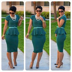 DIY Striped Peplum Top & Skirt + Pattern Review M6754 View C from www.mimigstyle.com