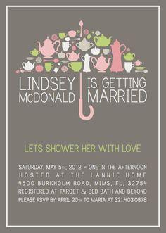 Bridal Shower Tea - Bridal Shower Invitation - 25 Quantity - Customized Card. $50.00, via Etsy.