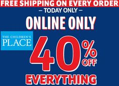 FREE Shipping On ALL Orders At The Children's Place Today + Extra 40% OFF With Coupon Code! - http://couponingforfreebies.com/free-shipping-orders-childrens-place-today-extra-40-coupon-code/
