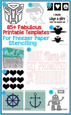 Scattered Thoughts of a Crafty Mom: 85+ Fabulous Printable Templates for Freezer Paper Stenciling