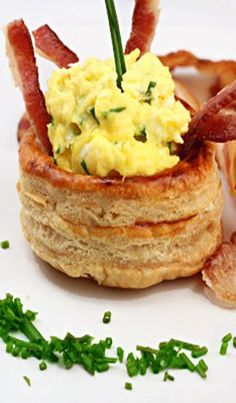 Fluffy Sour Cream and Chive Scrambled Eggs with Bacon _ A French treat, Vols-au-Vent based on the Puff Pastry recipe by Michel Richard from the cookbook Baking With Julia by Dorie Greenspan!
