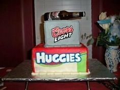 Guy Friendly Baby Shower Ideas - Edible Beer and Diaper Cake