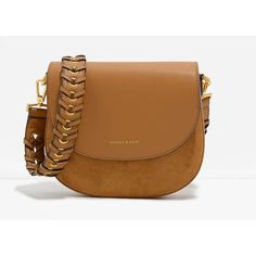 Weave Detail Saddle Bag | CHARLES & KEITH ($58) ❤ liked on Polyvore featuring bags, handbags, shoulder bags, crossbody saddle bag, weave handbag, crossbody saddle bag purse, brown crossbody and brown handbags