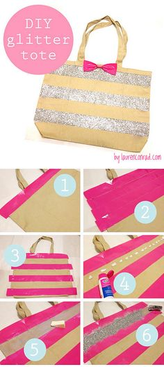 Cool DIY Crafts Made With Glitter - Sparkly, Creative Projects and Ideas for the Bedroom, Clothes, Shoes, Gifts, Wedding and Home Decor | DIY Glitter Tote Bag | http://diyprojectsforteens.com/diy-projects-made-with-glitter/