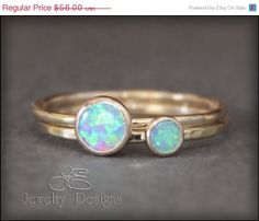 SALE  Discontinued Opals  2 RING OPAL Set  by LEJewelryDesigns, $47.60