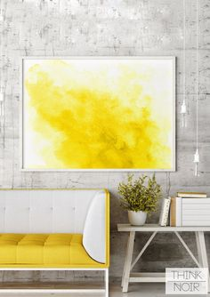 Yellow Watercolor Wall Art / Modern Wall by ThinkNoirAccessories