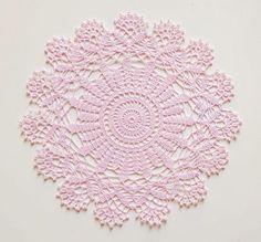 Pink round crochet doily No.34