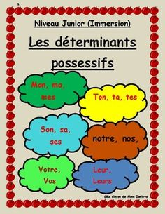 "This booklet is part of my series on ""les determinants"". In this booklet students will explore possessive determinants in French. I have included explanation pages, six exercise sets, a quiz, and an answer key. I have personally tried and tested this resource with my French immersion classes."