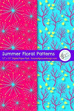 Cute set of digital papers to celebrate the Summer season! By House of Grouse Design, the cutest digital scrapbooking warehouse. Pattern Designs, Retro Pattern, Cute Pattern, Surface Pattern Design, Patterns In Nature, Flower Patterns, Digital Papers, Digital Scrapbooking, Paper Design