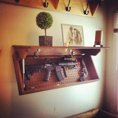 New Hidden Storage For Valuables Firearms 35 Ideas - Image 16 of 23 Hidden Gun Storage, Hidden Shelf, Secret Storage, Weapon Storage, Hidden Compartments, Secret Compartment, Storage Shelves, Shelving, Hidden Gun Cabinets