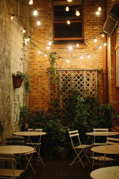 Create your own cozy cafe using string lights and a basic bistro set!