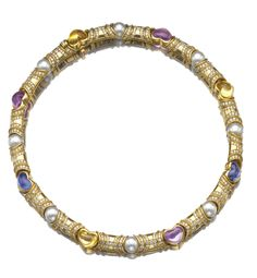 GEM-SET, CULTURED PEARL AND DIAMOND NECKLACE, BULGARI Designed as a series of tubular links set alternatively with a heart-shaped cabochon citrine, sapphire or pink sapphire and a cultured pearl, highlighted with brilliant-cut diamonds, mounted in gold.