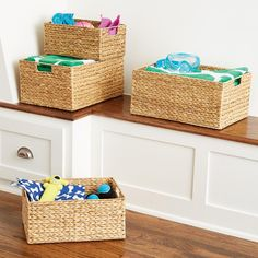 Water Hyacinth Storage Bins with Handles at The Container Store. X-Small will ju. Water Hyacinth Storage Bins with Handles at The Container Store. X-Small will just barely fit on built-ins. Fabric Storage Bins, Cube Storage, Storage Boxes, Storage Baskets, Kitchen Storage, Seat Storage, Toilet Storage, Office Storage, Wire Baskets