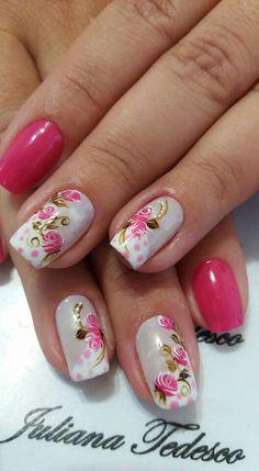 Unhas decoradas com vintage floral Pink Nail Art, Flower Nail Art, Pink Nails, Gel Nails, Art Flowers, Stiletto Nails, Acrylic Nails, Stylish Nails, Trendy Nails