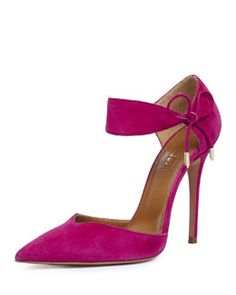 Aquazzura Candela High-Heel Suede d'Orsay Sandal, Orchid, also in Black Fall 2015