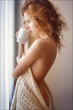 .Autumn-colored hair. Snugly sweater, mug, nude back.