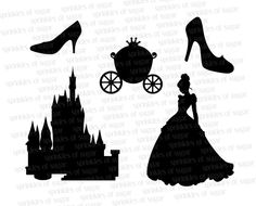 Castle silhouette for door and carriage for wall art
