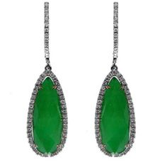 Make a Statement with these Mesmerizing Faceted White Topaz over Green Agate Teardrop Earrings with Pristine Diamonds set in 18K White Gold. The result is exceptional beauty with a modern sensibility, creating jewelry that is timeless, stylish and wearable.