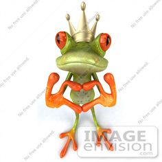 #42900 Royalty-Free (RF) Clipart Illustration of a 3d Red Eyed Tree Frog Prince Making A Heart With His Fingers - Pose 1 by Julos