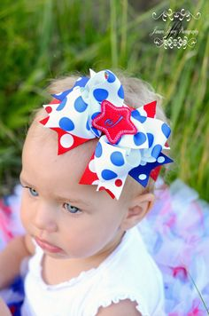 Embroidered Felt Monogrammed Star July 4th Spikey Boutique Hair Bow Hair Bow Only. $7.99, via Etsy.