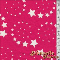 Cotton Lycra Stars Fushia