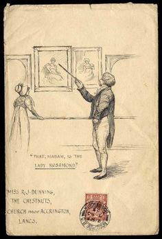 """Envelope with pen and ink illustration showing a man pointing to a picture and exclaiming """"THAT, MADAM, IS THE LADY ROSAMOND"""", sent from Boscombe to Accrington, November 1923"""