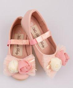 Look what I found on #zulily! Pink Bud Mesh Bow Ballet Flat #zulilyfinds