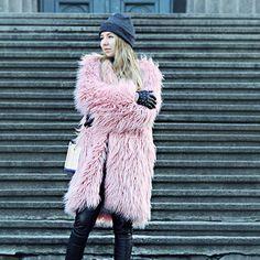 shaggy faux fur coat pink grey
