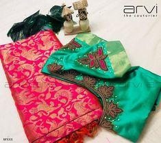 Neckline Embroidery for classy lovers Wedding Saree Blouse Designs, Pattu Saree Blouse Designs, Blouse Designs Silk, Designer Blouse Patterns, Simple Blouse Designs, Stylish Blouse Design, Hand Embroidery Designs, Aari Embroidery, Neckline Designs