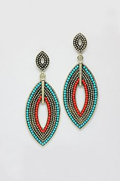 Riga Earrings on Emma Stine Limited . Turquoise and Coral