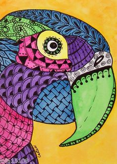 ACEO Le Print Zentangle Parrot Macaw Bird Animal Doodle Pet Painting Larusc | eBay