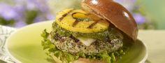Grilled pineapple and pesto turkey burgers recipe.