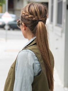Casual braid on a ponytail, giving it that little bit extra