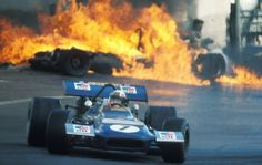 1970 Spanish Grand Prix, Jackie Stewart with Jackie Oliver's BRM and Jacky Ickx's Ferrari on fire!
