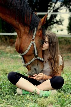 This is a cute picture of a horse and a girl being the best of friends This would be great for Tories senior pictures