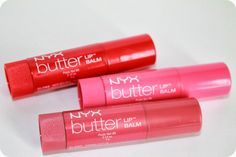 NYX Cosmetics Butter Lip Balm- Panna Cotta, Red Velvet & Parfait Swatches - gotta try these