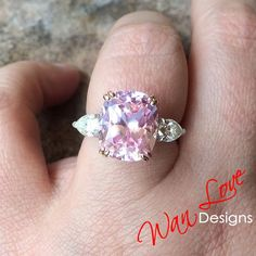 Light Pink Sapphire Moissanite Engagement Ring, Elongated Cushion Pear, 3 Gem, Rose Gold-Ready to Ship Unique Earrings, Stud Earrings, Chakra Jewelry, Crystal Jewelry, Crystal Earrings, Pink Sapphire, Ring Designs, Fine Jewelry, Moissanite
