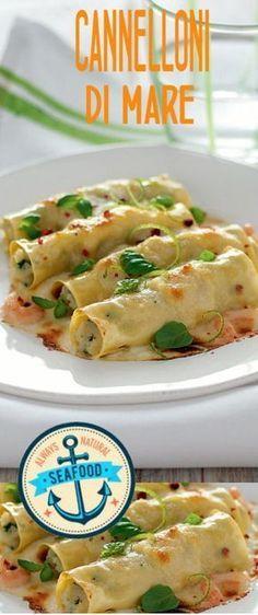Cannelloni al mare Fish Recipes, Pasta Recipes, Cooking Recipes, New Recipes, Crespelle Recipe, Cannelloni Ricotta, Homemade Pasta, Fish Dishes, Ravioli