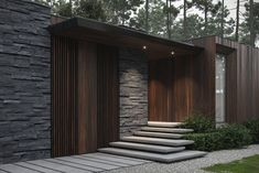 A forest house in Ukraine, with a wood and stone exterior, and a natural interior of wood clad walls, a stacked stone fireplace, and a small courtyard design. Villa, Moderne Couch, Courtyard Design, Front Door Entrance, Entrance Ideas, Small Courtyards, Forest House, Staircase Design, Pool Houses