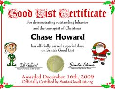 santa NICE LIST CERTIFICATES | In addition to the new Santa's Good List certificates, Instaletter ...