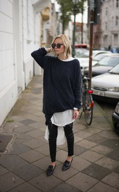 Oversized Sweater and a White Blouse Loafers Street Style Winter Layers Minimal HarperandHarley Looks Street Style, Street Style Trends, Looks Style, Street Styles, New Fashion Trends, Indie Fashion, Look Fashion, Fashion Outfits, Paris Fashion