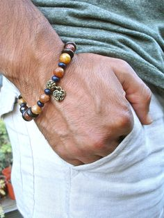 Mens Serenity, Wisdom, Love and Commitment Bracelet with a rich variety of earthy colors of Semi Precious highest quality stones, Red Garnet, Brown