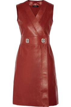 Selena Gomez displays her cleavage in red leather dress at the UNICEF Ball Red A Line Dress, Red Wrap Dress, Wrap Dresses, Red Leather Dress, Leather Dresses, Real Leather, Casual Day Dresses, Classy Outfits, Look Fashion