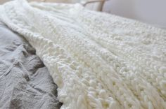 Over-sized 100% Wool Cable Hand Knit Blanket Wool by GlamorousJILL