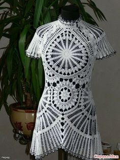 View album on Yandex. Crochet Tunic, Crochet Dresses, Crochet Tops, Modern Crochet, Doily Patterns, Short Sleeve Dresses, Knitting, Womens Fashion, Clothes