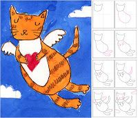 Art Projects for Kids | Valentine Kitty - directed drawing