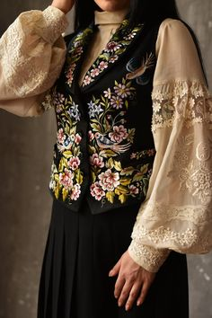 Simple Pakistani Dresses, Pakistani Dress Design, Black Waistcoat, Black Vest, Velvet Dress Designs, White Peasant Blouse, Muslim Women Fashion, Embroidery Fashion, Gowns