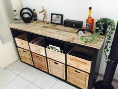 Relooking meuble lack Ikea palette et caisse de vin cover, covering, expedit